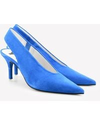 Bimba Y Lola Suede Pointed Slingback Pumps 80 Mm - Blue