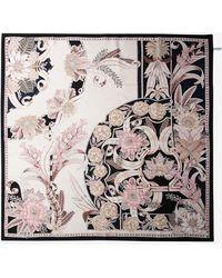 Ferragamo Valzer Printed Silk Scarf With Iconic Gancini Motif - Multicolour