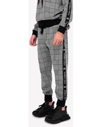 Dolce & Gabbana Houndstooth Check Track Pants With Jacquard Logo Band - Black