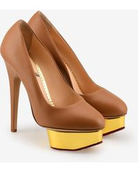 Charlotte Olympia Dolly 140 Leather Platform Court Shoes - Brown