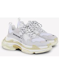 Balenciaga Triple S Sneakers In Mesh-leather And Nubuck - White