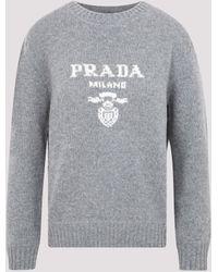 Prada Intarsia-knit Logo Sweater In Cashmere And Wool - Grey