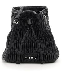 Miu Miu - Quilted Crystal Cloquet Bucket Bag In Nappa Leather Onesize - Lyst