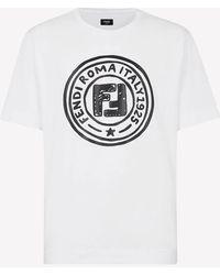 Fendi Logo Print Cotton T-shirt S - White