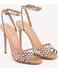Aquazzura Tequila 105 Crystal-embellished Sandals In Nappa Leather - Multicolor