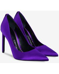 Tom Ford Tf 105 Satin Pointed Court Shoes - Purple