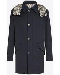 Ferragamo Cotton Gabardine Duffle Coat With Gancini-print Hood - Blue
