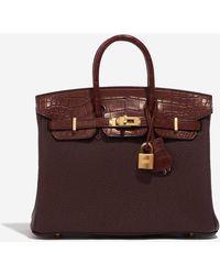 Hermès Birkin 25 Touch In Rouge Sellier Togo And Bourgogne Matte Alligator - Multicolour