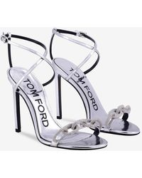 Tom Ford Pave Chain Metallic Leather Sandals With Criss-cross Ankle Strap