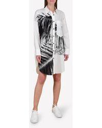 Bimba Y Lola Big Palm Print Shirt Dress - White