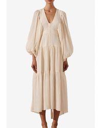 Shona Joy Mila Plunging Neck Tiered Midi Dress Uk 8 - White
