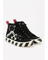 Off-White c/o Virgil Abloh Vulcanized Cotton Trainers With Bold Stripes - Black