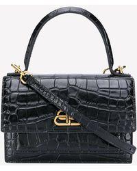 Balenciaga Xs Sharp Satchel Shoulder Bag In Crocodile Embossed Calfskin - Black
