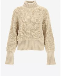 The Attico Turtleneck Wool Jumper In Oversized Fit Wrtwit_it 38 - Natural