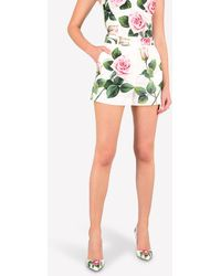 Dolce & Gabbana Poplin High-waist Tropical Rose Print Shorts - Multicolour