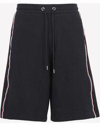 Moncler Logo Fleece Bermuda Shorts S - Blue