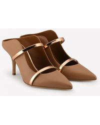 Malone Souliers Maureen 70 Nappa Leather Mules - Brown