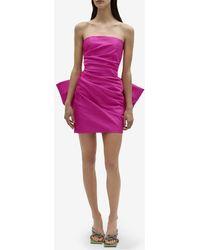 Solace London Posie Strapless Draped Mini Dress In Moire Jacquard Crepe Uk 8 - Pink
