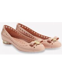 Ferragamo Vara Jelly Ballet Flat With Flower Heel - Pink
