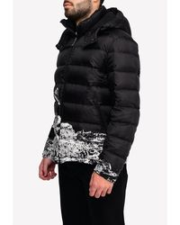 Valentino Undercover Time Traveller Print Puffer Jacket With Removable Hood It 50 - Black