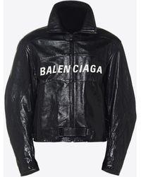 Balenciaga Zip-up Leather Biker Jacket - Black