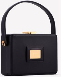 Tom Ford Palmelatto Leather Box Bag With Chain Strap Onesize - Black