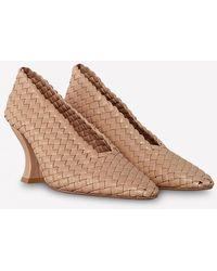 Bottega Veneta Almond Toe Court Shoes In Woven Intrecciato Nappa Leather - Multicolour