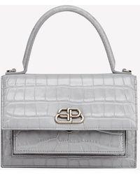 Balenciaga Xs Sharp Satchel Shoulder Bag In Crocodile Embossed Calfskin - Gray