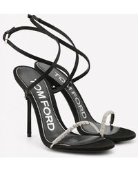 Tom Ford Satin 105 Crystal-embellished Sandals With Wraparound Ankle Strap - Black