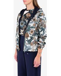 Ferragamo Valzer Print Reversible Zip-up Hooded Jacket - Blue