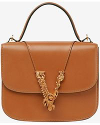 Versace Small Virtus Top Handle Bag In Leather Onesize - Brown