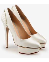 Charlotte Olympia Paloma 140 Satin Platform Court Shoes With Ruffle Back - White