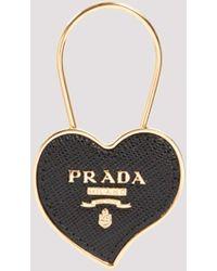 Prada Leather Heart Logo Plaque Keychain Onesize - Black