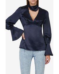Acler Florence V-neck Silk Top Uk 8 - Blue