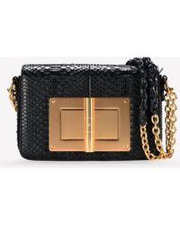 Tom Ford Natalia Medium Python Leather Shoulder Bag - Black
