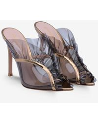 Gianvito Rossi Fame 105 Plexi Ruffled Mules In Metallic Leather