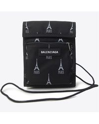 Balenciaga Eiffel Tower-paris Print Explorer Pouch Strap - Black