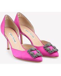 Manolo Blahnik Hangisi 70 Satin D'orsay Pumps With Fmc Crystal Buckle Eu 36 - Pink