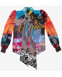 Marco Bologna Lilyevan Chiffon Blouse With Bow Uk 8 - Multicolour