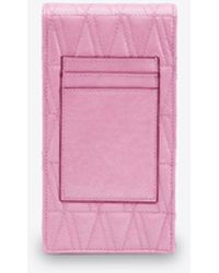 Versace Virtus Quilted Chain Phone Pouch In Naplak Leather Onesize - Pink