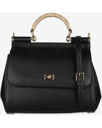 Dolce & Gabbana Sicily Leather Handbag With Braided Top Handle - Black