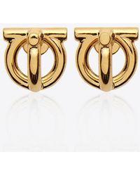 Ferragamo Gancini 3d Gold-tone Brass Earrings - Metallic