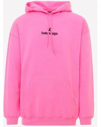 Balenciaga Embroidered Logo Cotton Sweatshirt - Pink