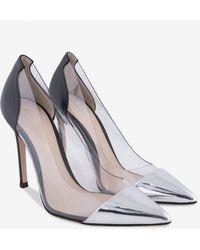 Gianvito Rossi Plexi 105 Silver And Black Court Shoes - Metallic