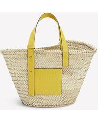 Loewe Basket Tote Bag In Braided Raffia - Yellow