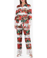 Dolce & Gabbana Portofino Print Lace Trim Pajamas - Red