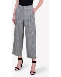 Bimba Y Lola Price Of Wales Check Wide-leg Trousers Fr 38 - Grey