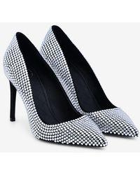 Balmain Orys Crystal-embellished Suede Court Shoes - Metallic