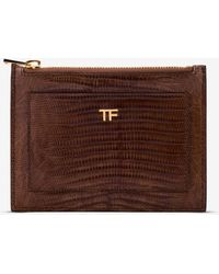 Tom Ford Zip Pouch Cardholder In Tejus Lizard Skin - Brown