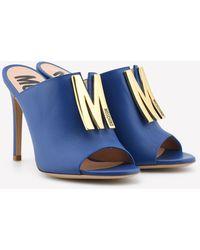 Moschino M Stud 100 Calfskin Mules Eu 36 - Blue